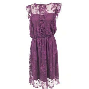 Justfab deep plum midi lace dress, XXL